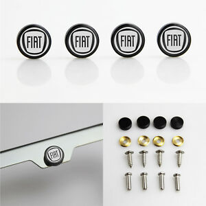 Laser Etched 4pcs Black Aluminum Fiat License Plate Frame Fastener Screws Cap