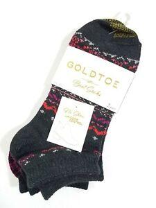 Gold Toe Womens No Show Boot Socks Fireside Black Acrylic Blend 2 Pair