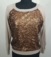 ANA Womens Bronze Sequin Tan Long Sleeve Sweater Size Large