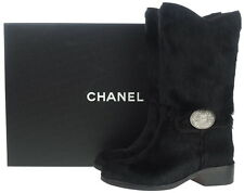 AUTH CHANEL BLACK PONY HAIR FUR MEDALLION CC LOGO BOOTS 37.5 W/BOX