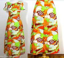 Vtg 70s Neon Psychedelic Swirl Floral Boho Hippie MAXI DRESS Ecru Cotton Trim XS