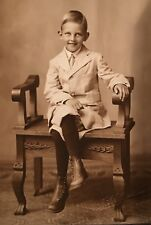 1910's Handsome SISSY BOY LAD Impeccably Dressed Cabinet Card Photo BODE IOWA