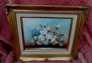 Vintage Gilt gold framed oil on canvas  flowers still life artist signed