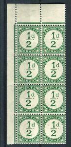 Barbados KGVI 1935 postage due 1c green SG.D1 MNH corner block of 8