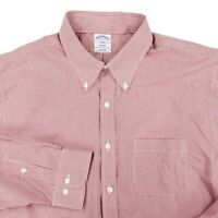 Brooks Brothers Regent Button Down Dress Shirt Gingham Checked Red Sz 17 36/37