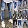 Mens Ripped Jean Skinny Destroyed Frayed Denim Pants Biker Slim Fit Trousers New