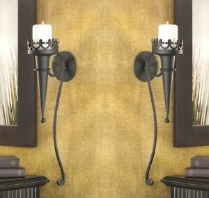 2 Candle Wall Sconces Matte Black Gothic Torch Style