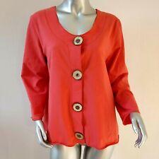 Neon Buddha Sz XL Coral Pink Button Front Cotton Knit Stretch Jacket Blazer Boho