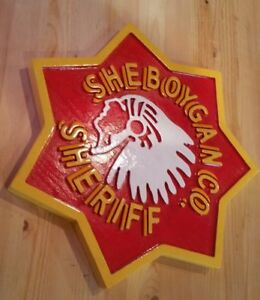Police Department Sheboygan Sheriff 3D routed wood award patch sign Custom