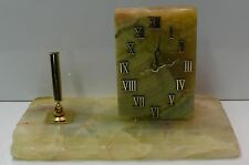 Onyx Desk Set~ Roman Numbers Onyx Clock ~Large Rustic Onyx Base~Brass Pen Base