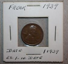1939 ERROR coin Lincoln wheat one CENT 11939 defective strike