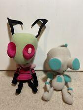 Rare Official Nickelodeon Invader Zim + Good Robot Gir 2 Plush Lot 2003 Viacom!
