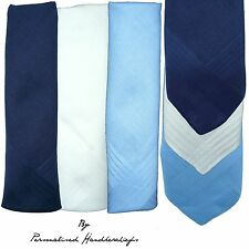 "100% PURE COTTON WHITE BLUE DARK HANDKERCHIEFS SATIN BORDER 16"" 40CM MEN LARGE"