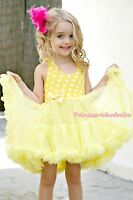 Yellow White Polka Dots Party Dress Full Tutu Petti Girl Dress Pettiskirt 2-8Y