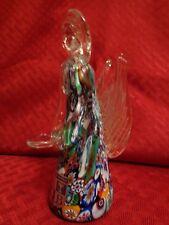 Colorful & Elegant Murano Venetian Glass Millefiori Angel with Halo Figurine