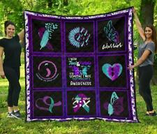 I Wear Teal And Purple Suicide Prevent Awareness Quilt Blanket Funny Gift Xmas