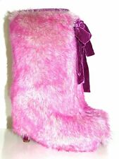 MIU MIU BY PRADA STIEFEL FELL BOOTS WOMAN SHOES FAKE FUR PINK GR:37 NEU !!!