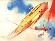 PAINTINGS FUTURE SCI FI DOG FIGHT PLANE COMBAT AIRSHIP ART POSTER PRINT LV3165