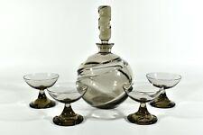 WMF Rauchglas Karaffe + 4 Gläser ° Spiralenschliff ° Design Erich Jachmann (Z)