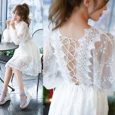 New Korean Women Hollow Cut Back Bandage Tie Elastic Waist Kawaii Princess Dress