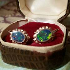 Gold Earrings with Black Opals from 1950's