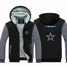 Dallas Cowboys Hoodie Thicken Fleece Coat Winter Warm Jacket Zip Up Sweatshirt
