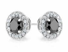 Улучшенная черный алмаз и создал белым топазом Halo Стад Серьги 2.0ctw в серебре