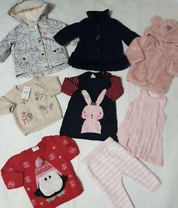 0-3 months girls winter bundle coat rain jacket jumper dress bluezoo next (E)