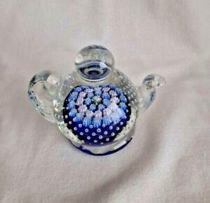 Vintage John Deacons Millefiori Art Glass Teapot Paperweight 1990's