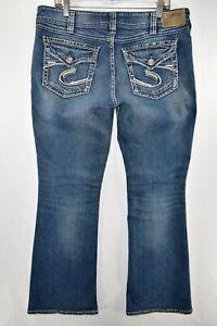 Silver Suki Surplus Bootcut Stretch Jeans Womens Size 34x32 Blue Meas 35x32 Flap
