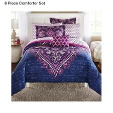 New Purple 8 Piece King Size Comforter Set With Sheets Bedding Decor Bedspread