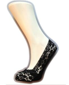 Ladies/Womens Lace Footies/Footlets with silicone trim in Black 2 PAIR PACK