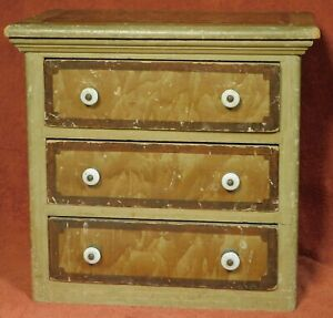 Early Antique Miniature Chest of Drawers ORIGINAL Grain Putty Paint Americana