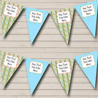 Blue Vintage Shabby Chic Floral Wedding Anniversary Party Bunting Banner