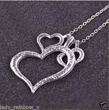 Fashion Elegant Silver Chain Three Hearts Pendant Necklace Friend Gifts Nice