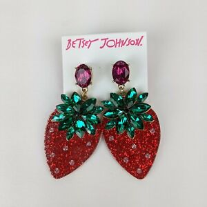 Betsey Johnson Red Acrylic Rhinestone Crystal Strawberry Drop Earrings NWT