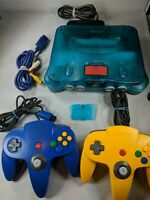 Nintendo 64 FUNTASTIC ICE BLUE Console w/ Blue Yellow Controller N64 Expansion