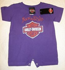 NEW 12 Month 12MO Harley Davidson Born To Ride Purple One Piece Romper H03W