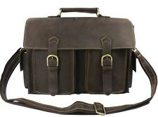 Cool Men Brown Full Grain Real Leather Tote Bag Shoulder Bag messenger Briefcase