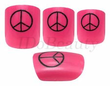 24 Pink False Full Cover Nails Manicure With Peace Design + Nail Glue