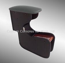 Armrest for Classic Mini Leather Effect Top & Burr Real WALNUT Handbrake TRAY