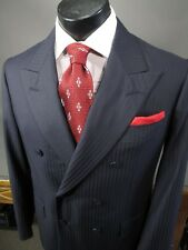 Kemal Aydin Bespoke Suit 41PS Navy Double Breasted, Scabal 120s Wool
