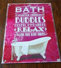 Bath Bubbles Relax Pink Chic N Shabby Victorian Metal Sign Soak The Day Away