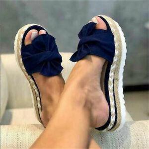 Abtel Womens Summer Bow Sandals Platform Flip Flops Slippers Beach Casual Shoes