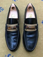 Gucci Mens Shoes Black Leather Bamboo Horsebit Loafers UK 9.5 US 10.5 43.5 Web