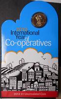 Australia 2012 International Year Co-operatives  Dollar $1 Coin UNC in card