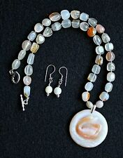Carved Swan / Duck Madagascar Agate Pendant Necklace Set - Nuggets