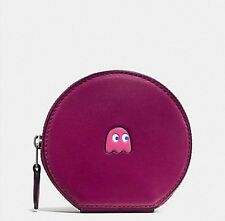 NWT COACH F54871 PAC MAN ROUND COIN CASE IN CALF LEATHER