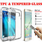 Ultra Thin TPU Gel Case Cover & Tempered Glass for Samsung Galaxy S5 S6 S7 Edge