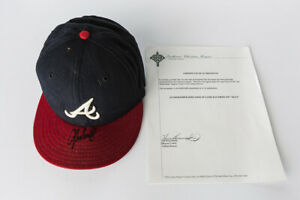 """JOHN SMOLTZ AUTOGRAPHED ATLANTA BRAVES GAME WORN HAT FROM 1997 """"NLCS"""""""